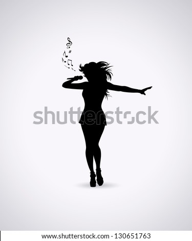 Female singer - vector illustration - stock vector