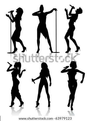 Female singers silhouette set - stock vector