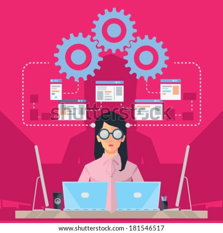 Female Software Engineer - stock vector
