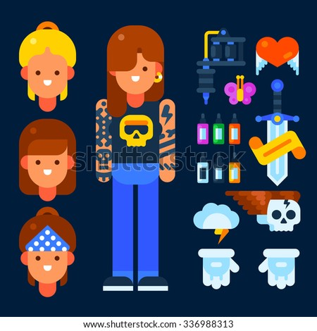 Female tattoo master and her stuff: tattoo machine, ink, gloves. Vector flat illustration. Isolated objects. - stock vector