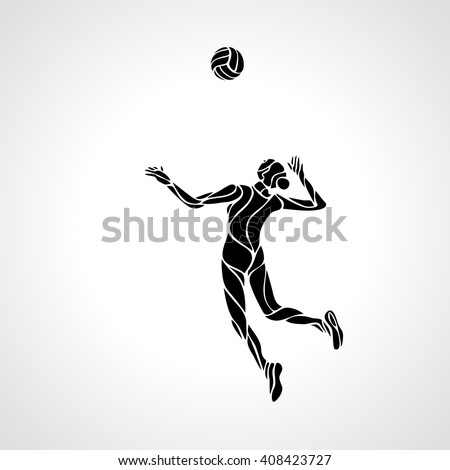 Female volleyball player stylized silhouette - stock vector