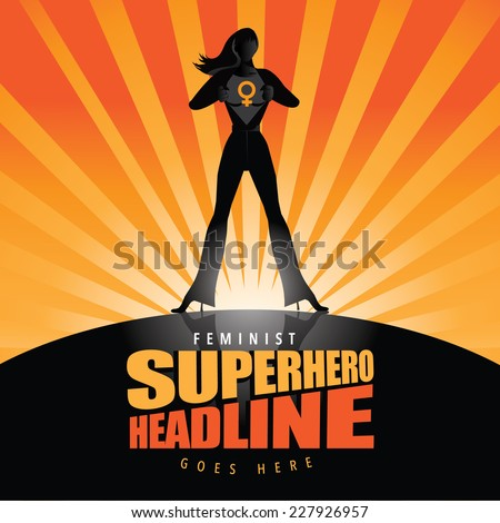 Feminist super businesswoman burst background EPS 10 vector - stock vector