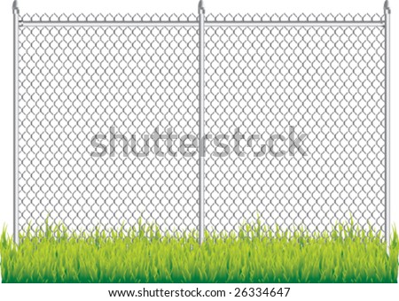 fence and grass isolated - stock vector