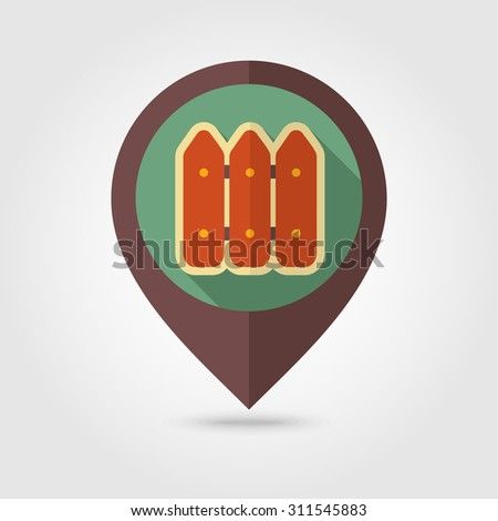 Fence flat mapping pin icon with long shadow - stock vector