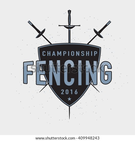 Fencing championship emblem, design element on retro light background. Tournament vintage logo, stamp. Sport fencing equipment - foil, rapier. Use for web or print. - stock vector