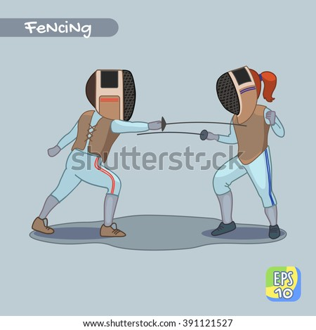 Fencing competition. Sport. Duel. Vector illustration. - stock vector