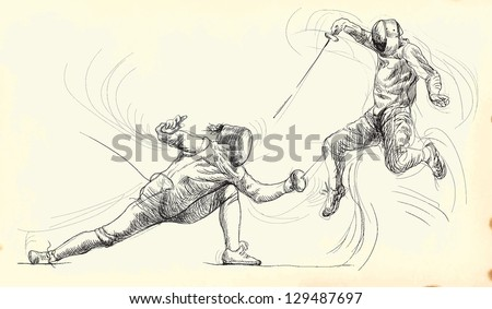 Fencing duel. /// A hand drawn illustration converted into vector. Vector is editable in 7 layers. - stock vector