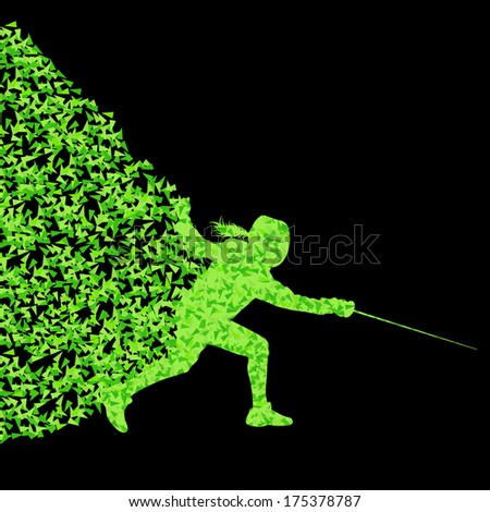 Fencing players active sports silhouette background illustration vector concept made of triangular fragments explosion - stock vector