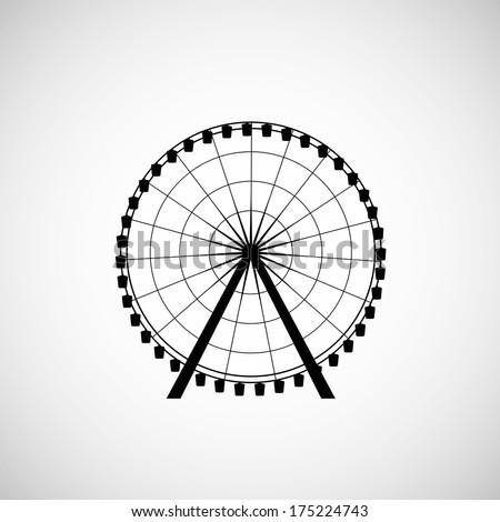 Ferris Wheel from amusement park, vector silhouette - stock vector