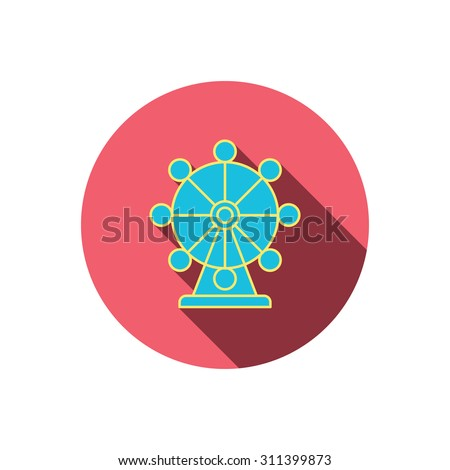 Ferris wheel icon. Entertainment park sign. Red flat circle button. Linear icon with shadow. Vector - stock vector