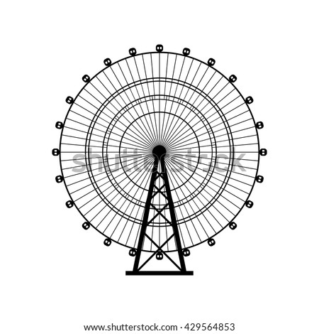 Ferris wheel silhouette, circle. Carnival. Funfair background.Carousel, motion. Vector illustration. - stock vector