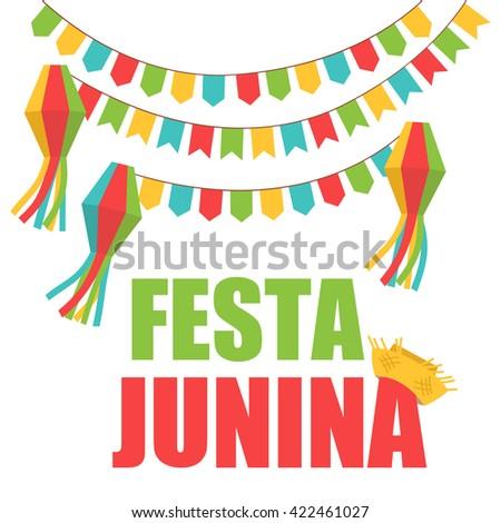 Festa Junina Brazil Festival. Folklore holiday. Festival fire. Vector illustration.  Festa Junina - June party. - stock vector