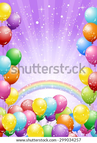 Festival background with colorful balloons and shining glitter. Celebration. - stock vector
