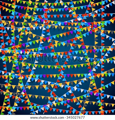 Festival banner. Party celebrating colored flags background. Vector illustration - stock vector