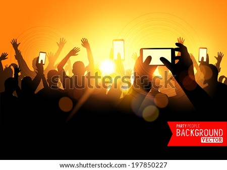 Festival Crowd Vector, people at a concert with smartphones. Vector illustration - stock vector