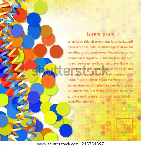 Festive abstract background with yellow serpnatinom and confetti in the old style. Vector illustration.  - stock vector
