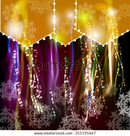 Festive abstract vector background with snowflakes and shining fibers - stock vector