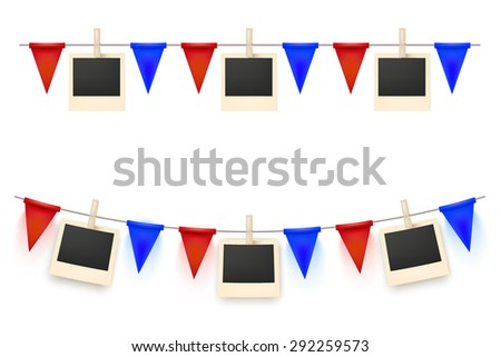 Festive background decorated with a garland of flags and pictures isolated on white background. Your design holiday greeting cards, posters. Vector illustration. - stock vector