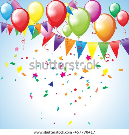 Festive background with balloons and flags - stock vector