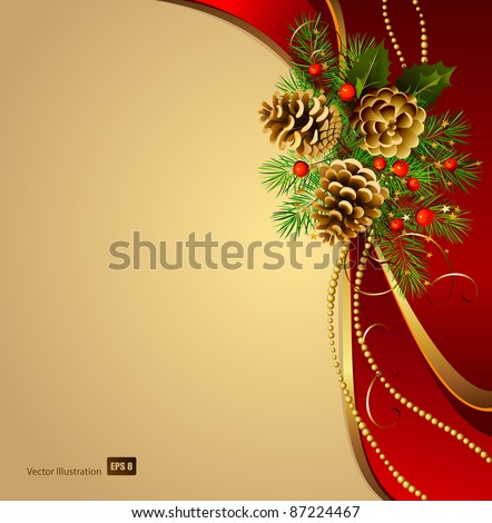 festive  background  with Christmas fir tree and cones - stock vector