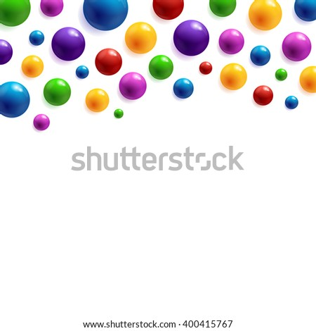 Festive background with colorful glossy balls. Vector design EPS10. Perfect for cards, brochures, cover, flyers, banners, posters etc. - stock vector