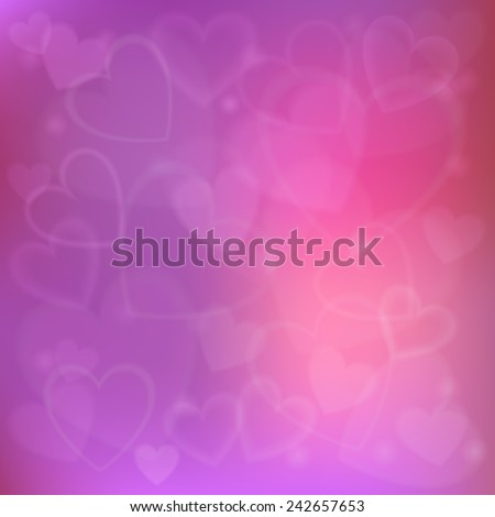 Festive background with defocused lights with hearts - stock vector