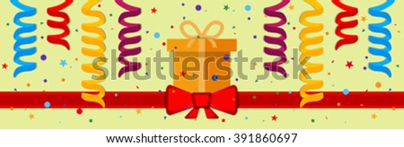 Festive background with gift box and red ribbon. Eps 10 - stock vector