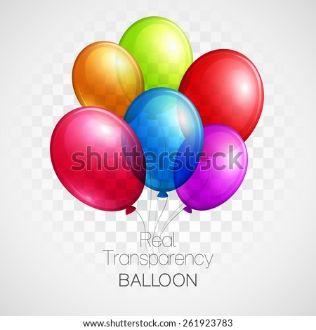 Festive Balloons real transparency. Vector illustration EPS 10 - stock vector