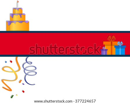 festive banner with cake and gift boxes. EPS 10 - stock vector