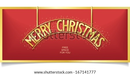 Festive billboard with gold shine Merry Christmas lettering on red background. vector banner eps10 - stock vector