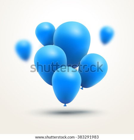 Festive blue Balloons realistic. Vector composition of bunch blue baloons. - stock vector