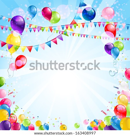 Festive bright background with balloons and flags - stock vector