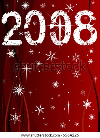 Festive Christmas Background with Shining point lights, swirls and snowflakes on a red fading background with 2008 text - stock vector
