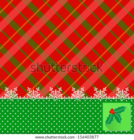 festive Christmas vector icon and snowflakes lace over tartan background. Vector, EPS 10  - stock vector