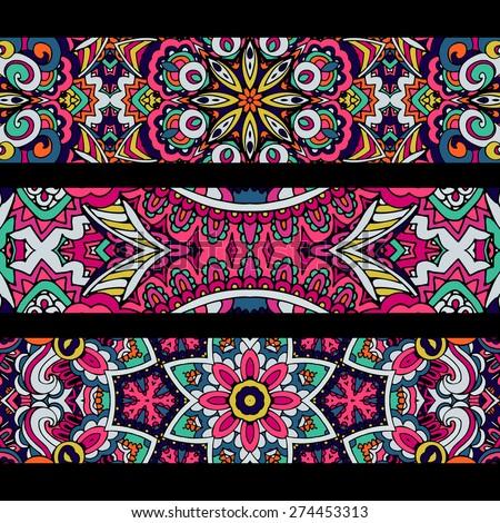 Festive colorful ornamental floral vector ethnic banner set - stock vector