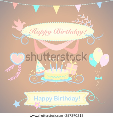 Festive congratulation vector set. Happy Birthday design elements for a boy and a girl. Illustration in pastel colors. - stock vector