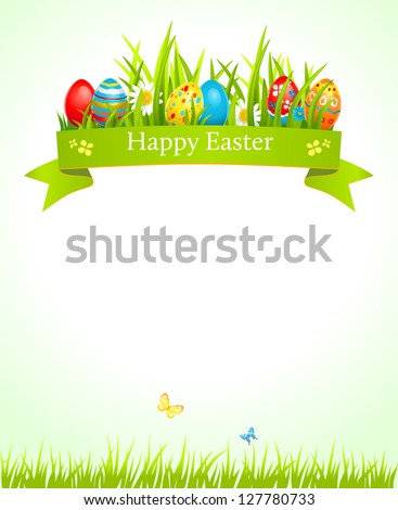 Festive Easter background with space for text - stock vector