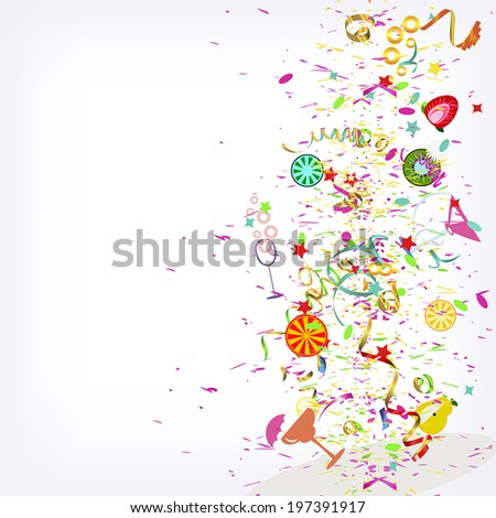 Festive explosion, fruit cocktails and confetti, vector background - stock vector