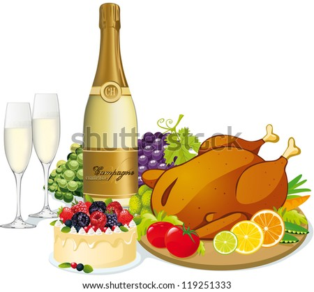festive feast - stock vector