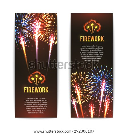 Festive firework 2 vertical banners set with sparkling star balls against black background abstract vector isolated illustration - stock vector
