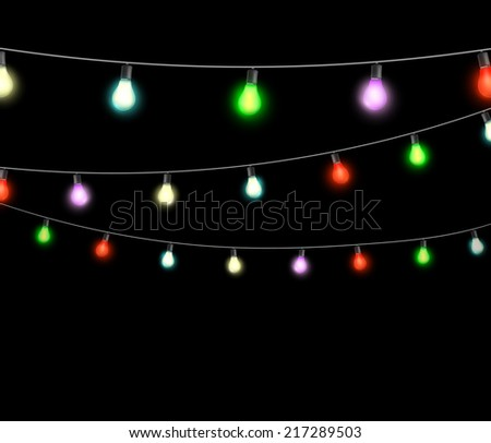 festive garlands of colored lights - stock vector