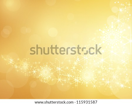 Festive golden background with shiny stars, snow flakes and bokeh lights. - stock vector