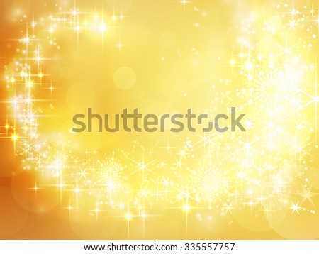 Festive golden Christmas backdrop with stars, snowflakes, bokeh lights that form a pattern like a shooting star with a trail. - stock vector