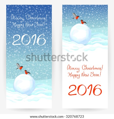 Festive greeting cards with bullfinches, snowballs at snowy background, with wishes of a Merry Christmas and a Happy New Year 2016. Vertically elongated rectangular backgrounds - stock vector