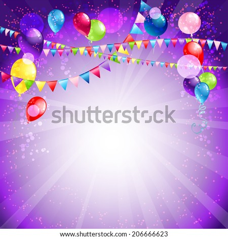 Festive holiday balloons and confetti. Place for text - stock vector