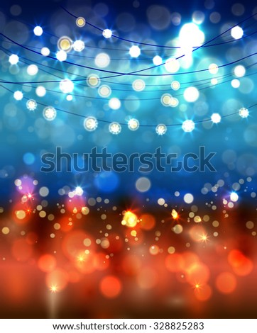 Festive light background with bokeh and stars, vector - stock vector
