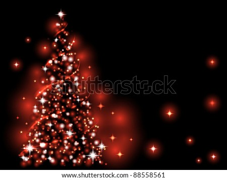 Festive light - red  Xmas tree - stock vector