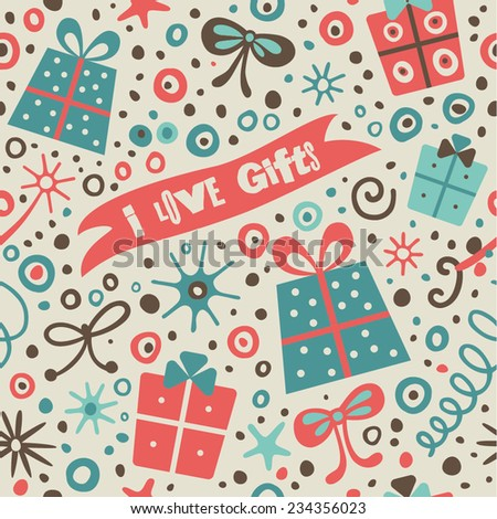 Festive pattern with gifts, confetti and streamers. Seamless background for your design. - stock vector