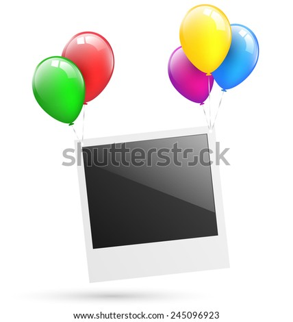 Festive photo frame hang on multicolored inflatable air balls isolated on white background  - stock vector