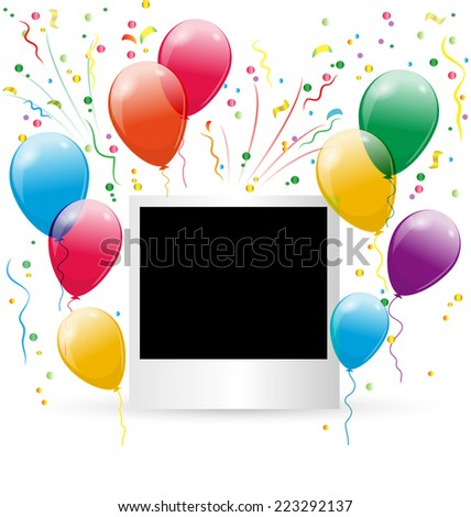 Festive photoframe with air balls and confetti on white background - stock vector
